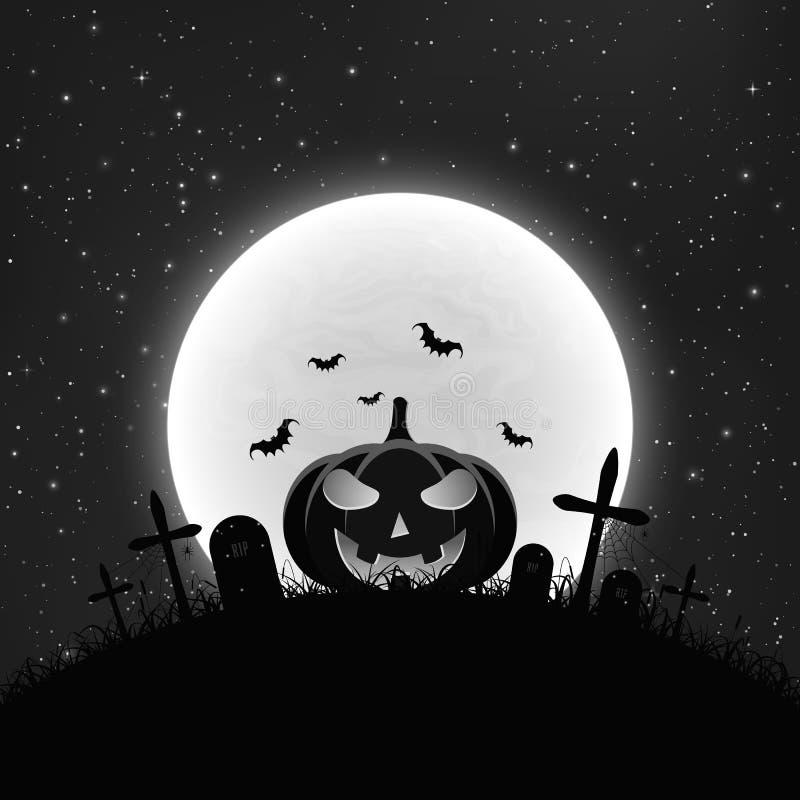 Fondo blanco y negro para Halloween en estilo retro Calabaza de la historieta en el cementerio Luna Llena y estrellado realista ilustración del vector