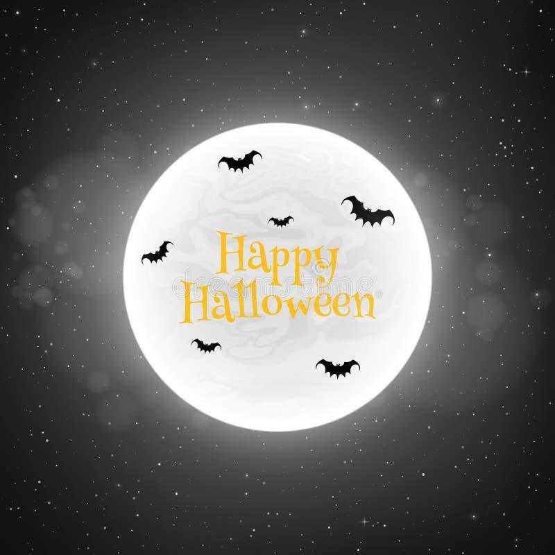 Fondo blanco y negro para Halloween en estilo retro Los palos vuelan contra la perspectiva de la Luna Llena Concepto espeluznante stock de ilustración