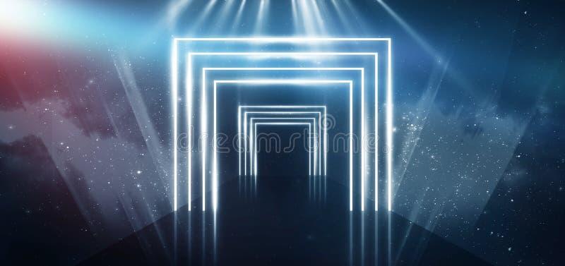 Fondo blu astratto con luce al neon, tunnel, corridoio, raggi rossi del laser, fumo immagini stock libere da diritti