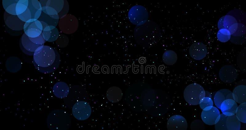 Fondo blu astratto del bokeh brillare luci confuse con i cerchi Elemento della decorazione della carta di festa del nuovo anno o  illustrazione di stock