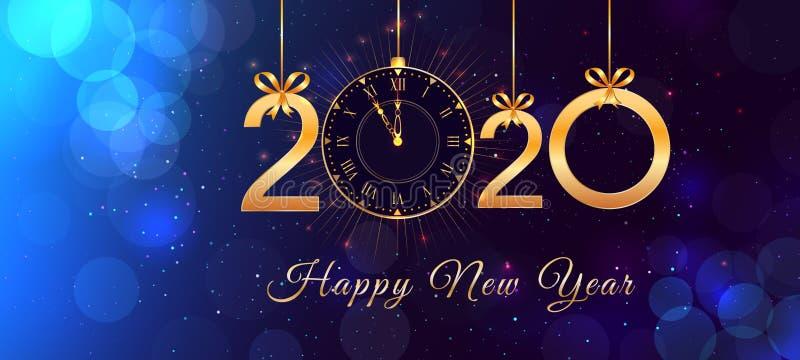 Fondo blu astratto del buon anno 2020 con effetto del bokeh, progettazione del testo con l'attaccatura dei numeri dorati illustrazione vettoriale