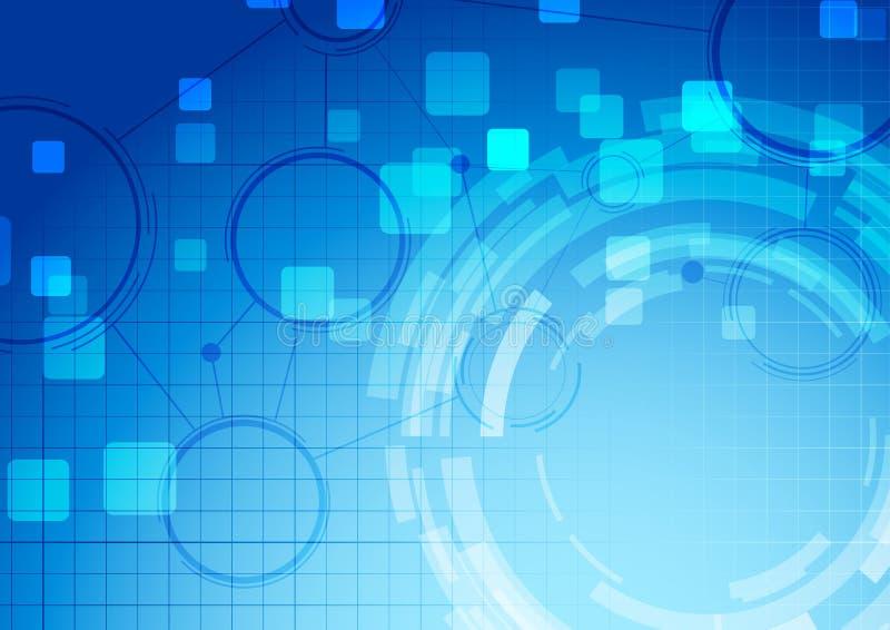 Fondo blu astratto del collegamento di tecnologia illustrazione di stock