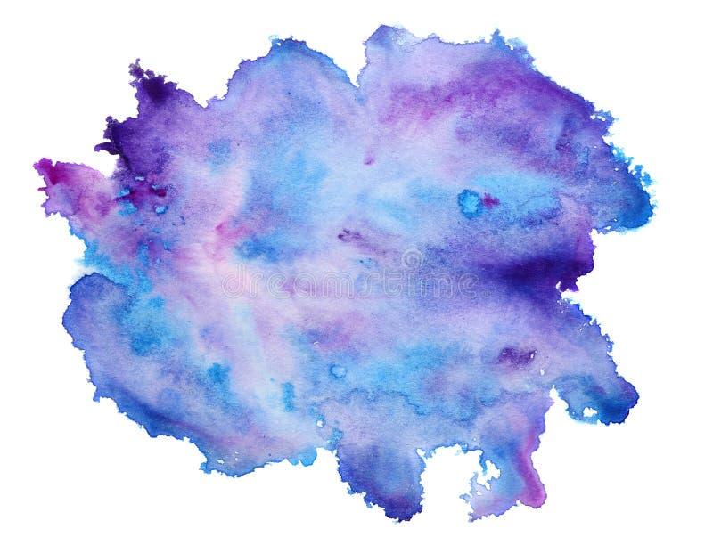 Fondo blu astratto dell'acquerello isolato su bianco fotografie stock