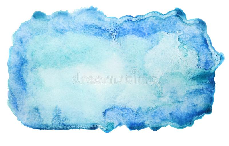 Fondo blu astratto dell'acquerello isolato su bianco fotografia stock