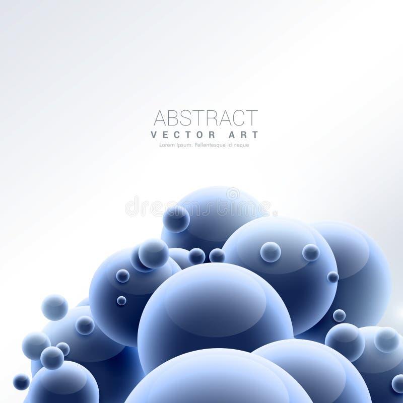 Fondo blu astratto delle molecole della sfera royalty illustrazione gratis