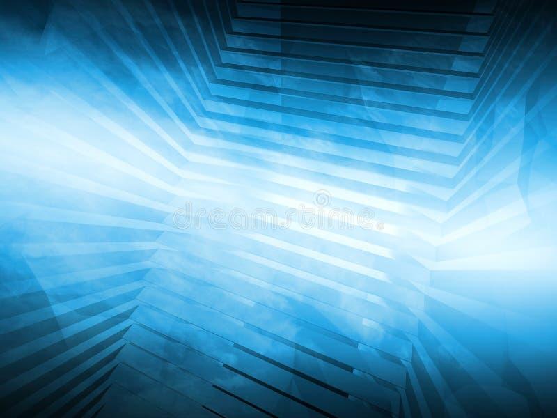 Fondo blu astratto di ciao-tecnologia 3d rendono illustrazione vettoriale