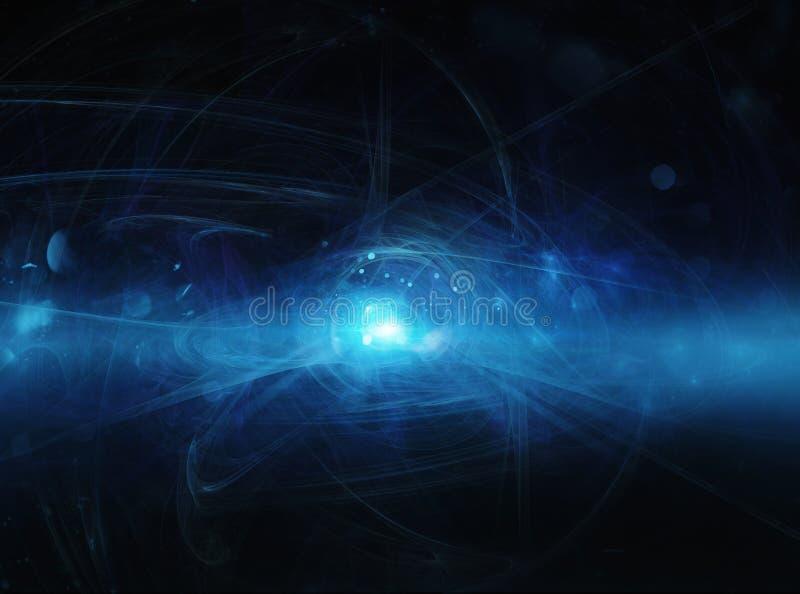 Fondo blu astratto di Internet con luce di fibra ottica illustrazione di stock