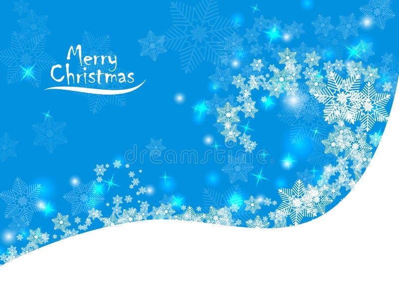 Fondo blu astratto di natale con i fiocchi di neve illustrazione vettoriale