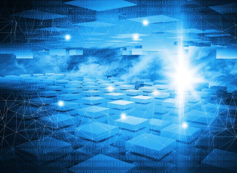 Fondo blu astratto di tecnologia digitale illustrazione vettoriale