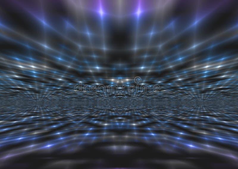 Fondo blu astratto luccicante dei raggi luminosi immagine stock