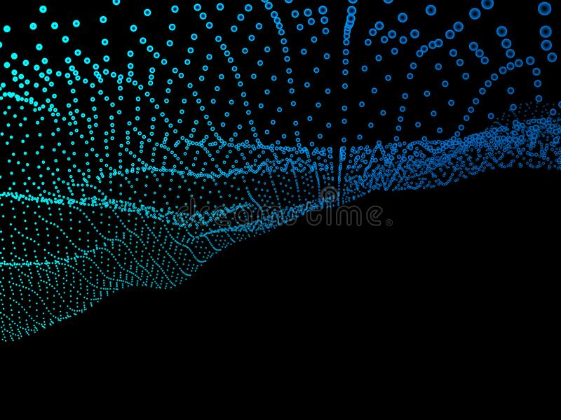 Fondo blu astratto Struttura ondulata con i punti brillanti illustrazione di stock