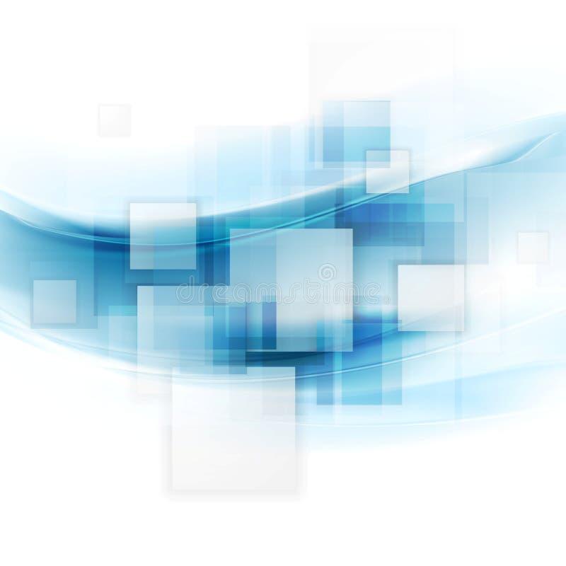 Fondo blu brillante di tecnologia con i quadrati e le onde illustrazione vettoriale