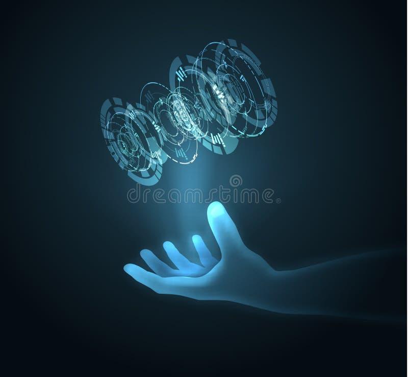 Fondo blu brillante di vettore di tecnologia con la palla di energia della tenuta della mano EPS10 immagine stock libera da diritti