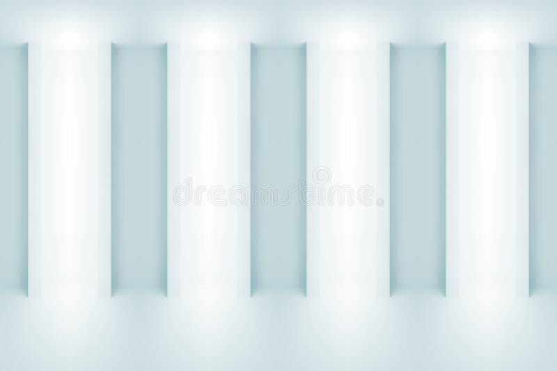 Fondo blu-chiaro astratto 3 d di architettura illustrazione di stock