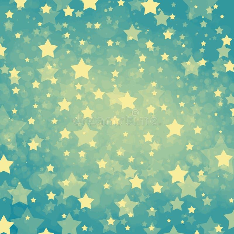 Fondo blu-chiaro con le stelle gialle pastelli molli in un vecchio modello d'annata di colore di stile royalty illustrazione gratis