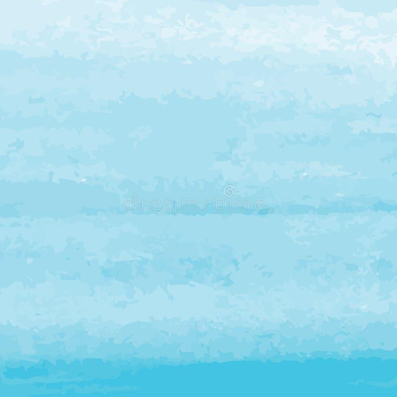 Fondo blu-chiaro dell'acquerello dell'estratto di vettore con struttura di lerciume Illustrazione dipinta a mano di vettore illustrazione di stock