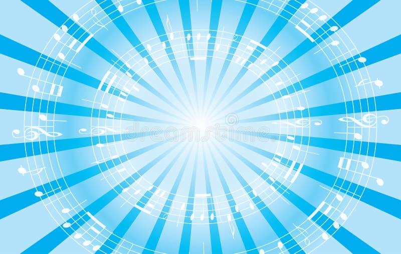 Fondo blu-chiaro di musica con i raggi radiali illustrazione vettoriale