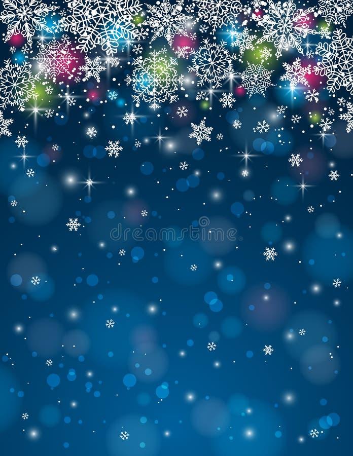 Fondo blu con i fiocchi di neve, illustrati di vettore illustrazione vettoriale