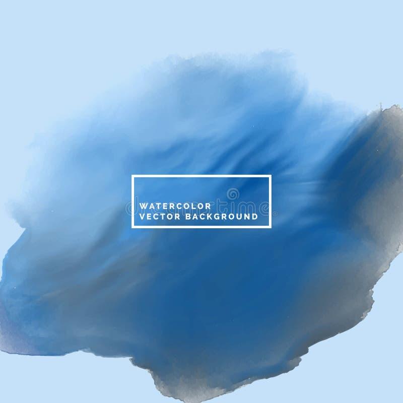 Fondo blu con l'acquerello scorrente illustrazione di stock