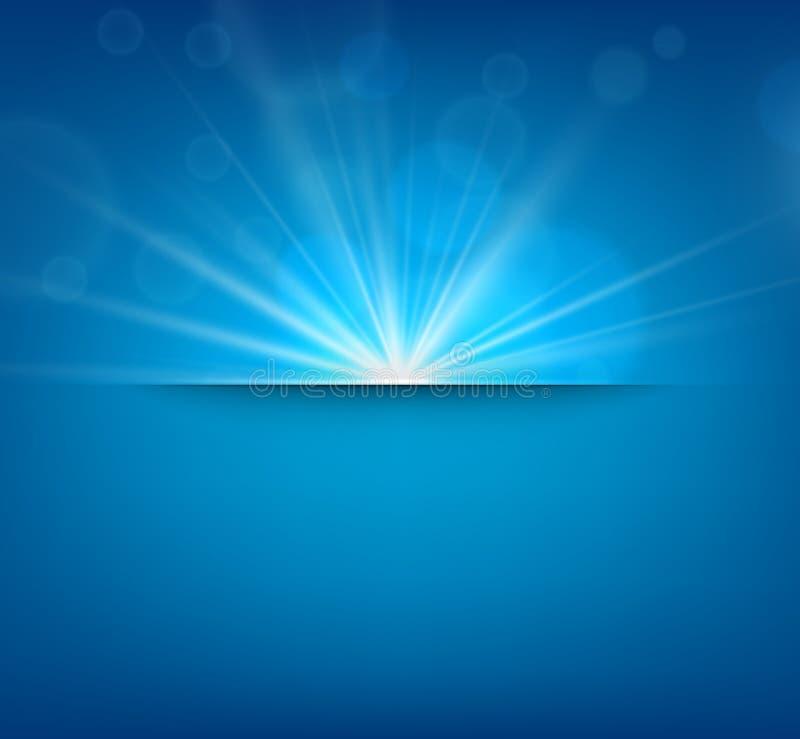 Fondo blu confuso con il chiarore della lente illustrazione di stock