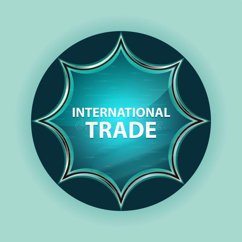 Fondo blu degli azzurri del bottone dello sprazzo di sole vetroso magico del commercio internazionale illustrazione vettoriale