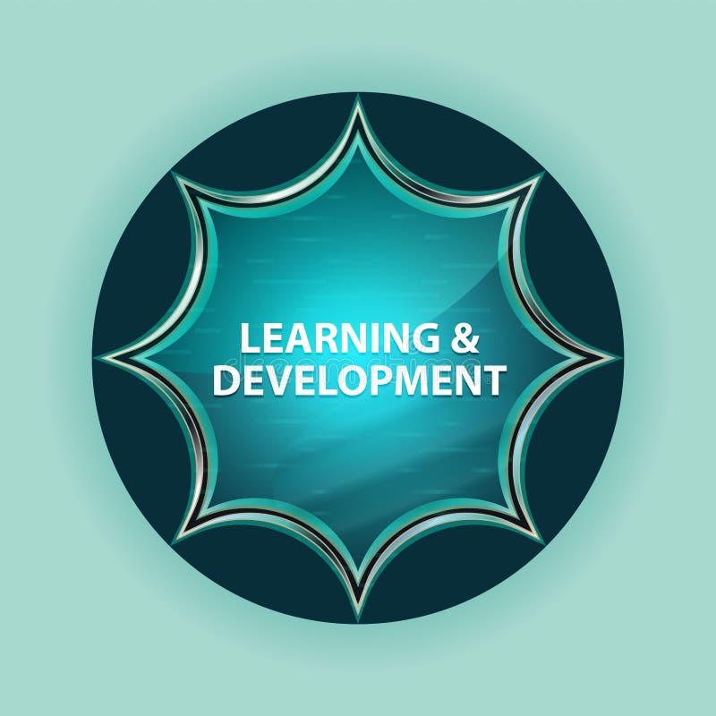 Fondo blu degli azzurri del bottone dello sprazzo di sole vetroso magico di sviluppo & di apprendimento royalty illustrazione gratis