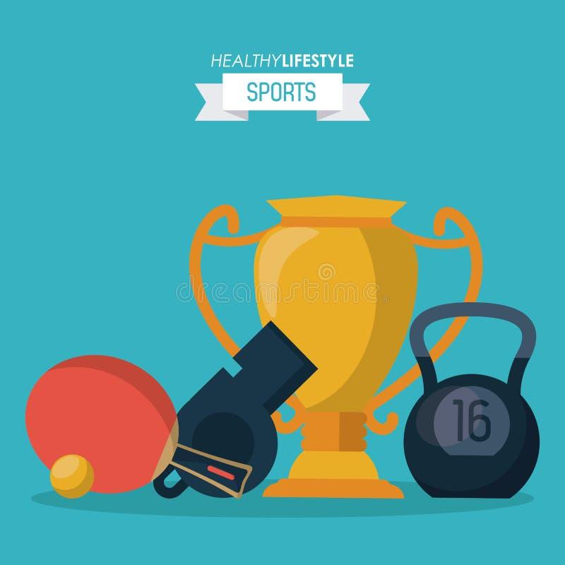 Fondo blu degli sport sani di stile di vita con il trofeo e kettlebell e fischio e racchetta di ping-pong royalty illustrazione gratis