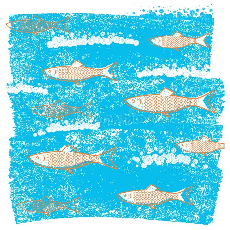 Fondo blu dei pesci subacquei sulla vecchia carta di lerciume illustrazione di stock