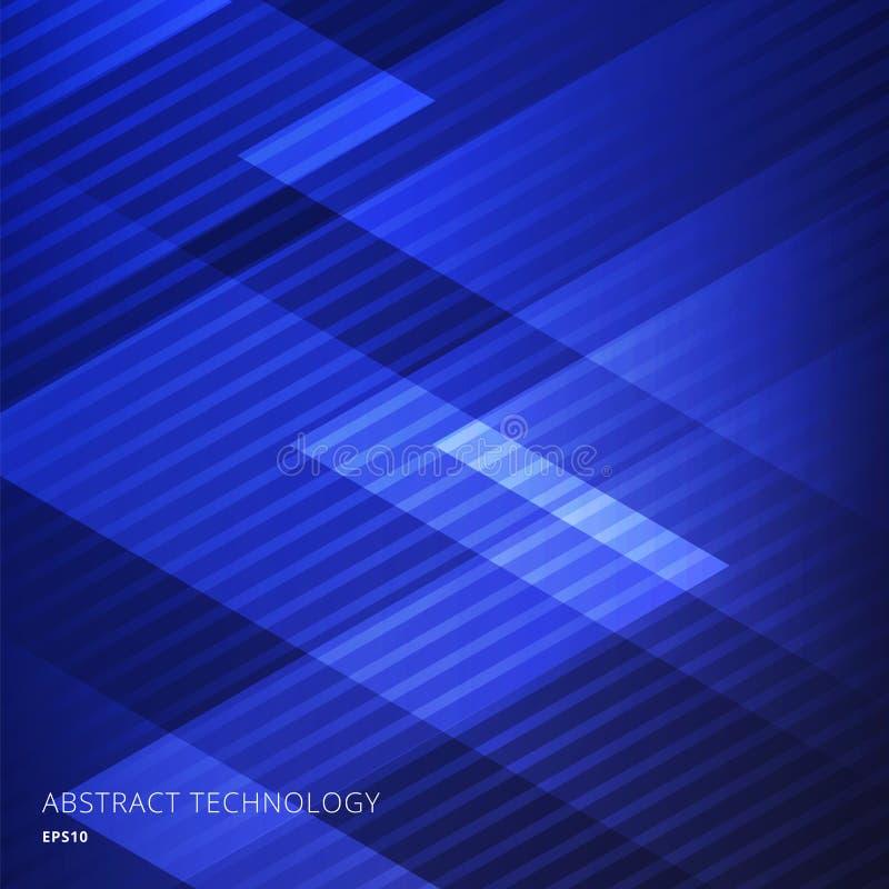 Fondo blu dei triangoli geometrici eleganti dell'estratto con le linee diagonali modello illustrazione vettoriale