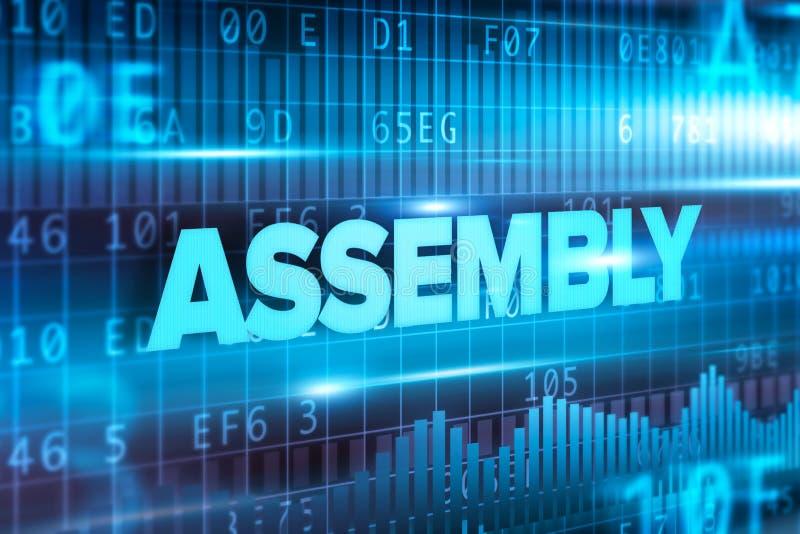 Fondo blu del blu del testo di concetto astratto dell'Assemblea illustrazione vettoriale