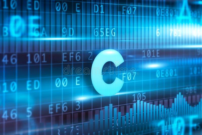Fondo blu del blu del testo di concetto dell'estratto di C illustrazione di stock