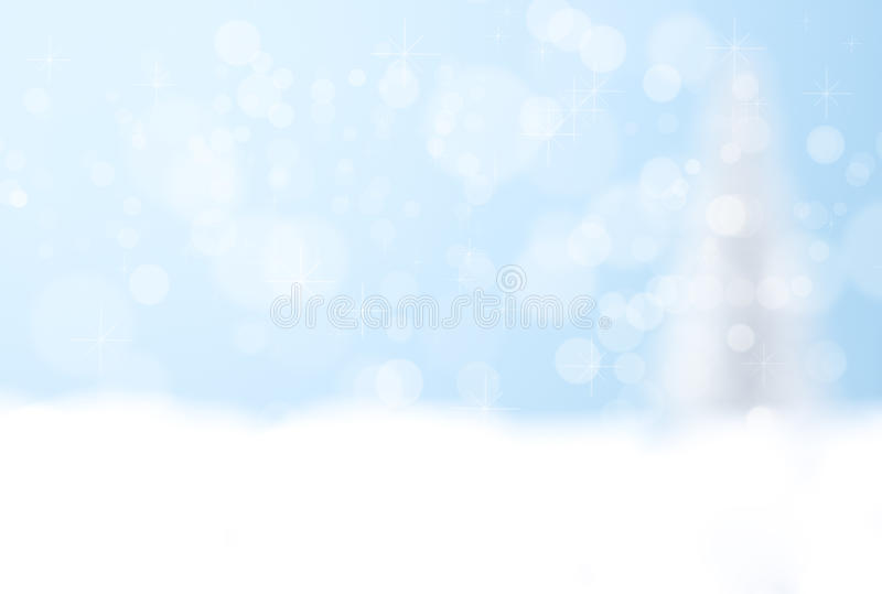 Fondo blu del bokeh dell'albero di Natale d'argento fotografia stock