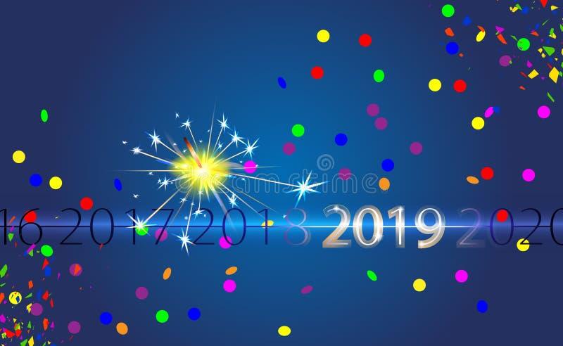 Fondo blu del buon anno con l'iscrizione d'argento 2019 ed il fuoco del Bengala Effetto della luce di vettore della stella filant illustrazione di stock