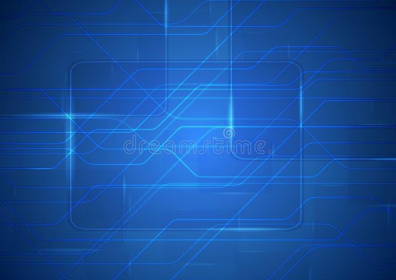 Fondo blu del circuito dell'estratto di fantascienza di tecnologia illustrazione vettoriale