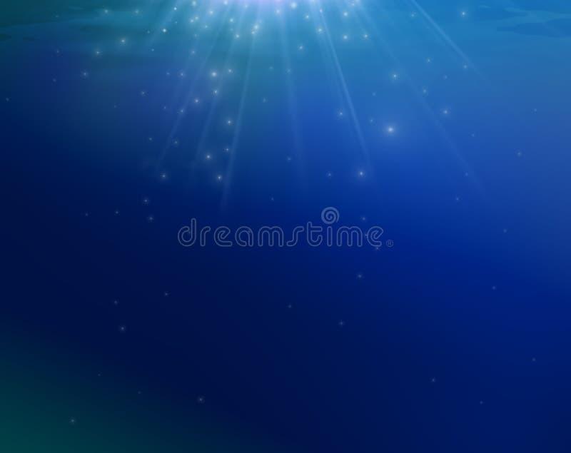 Fondo blu del mare con il gliterin delle stelle che cade da sopra illustrazione vettoriale