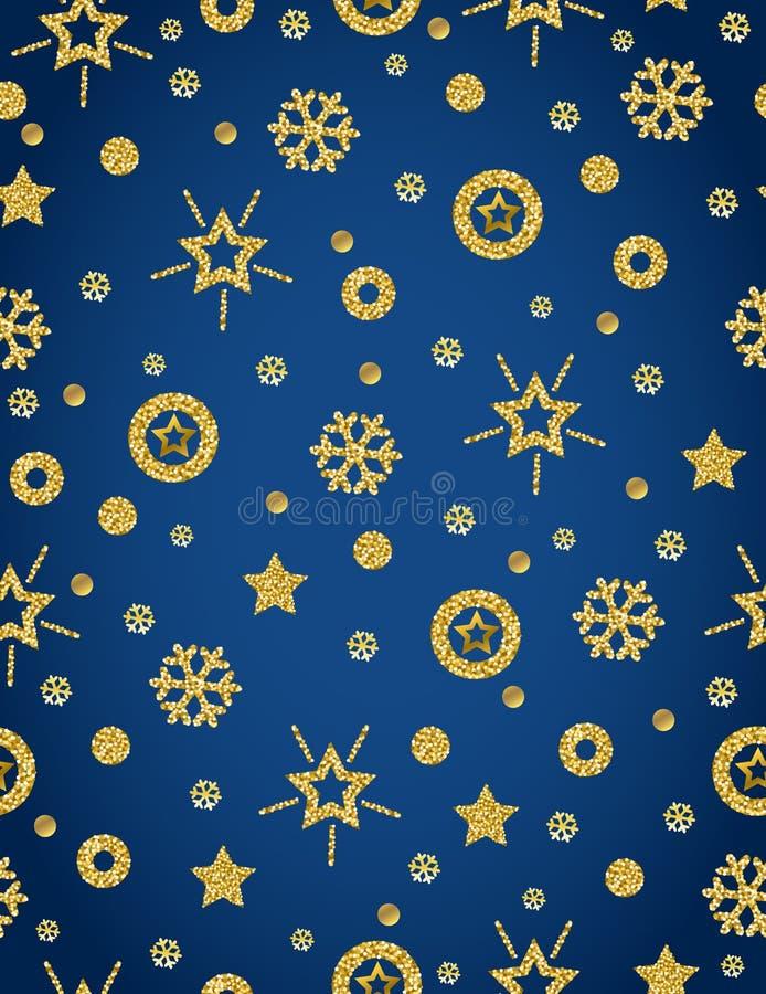 Fondo blu del modello di Natale con lo snowfla brillante dorato illustrazione di stock