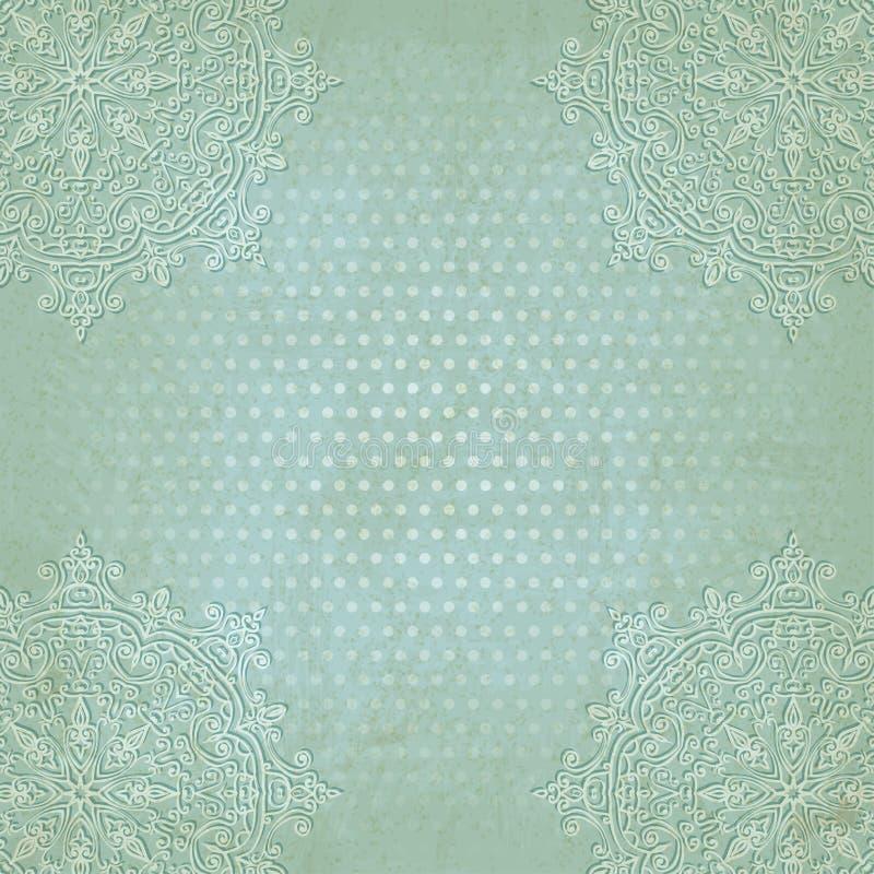 Fondo blu del modello di pois di lerciume del pizzo vecchio illustrazione di stock