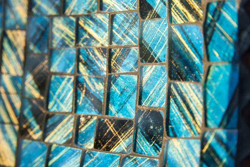 Mosaico di vetro blu della stanza da bagno e del raggruppamento