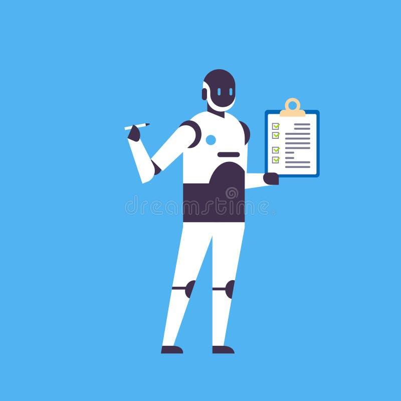Fondo blu del robot della tenuta della lista di controllo della lavagna per appunti dell'assistente del bot di intelligenza artif illustrazione vettoriale