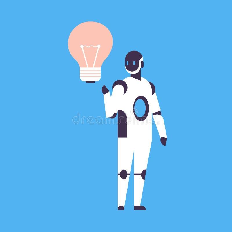 Fondo blu del robot di nuovo di idea della luce della lampada dell'innovazione dell'assistente del bot di intelligenza artificial royalty illustrazione gratis