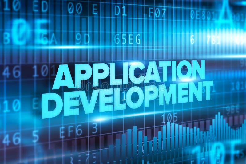 Fondo blu del blu del testo di concetto dell'estratto di sviluppo di Applipacation illustrazione vettoriale