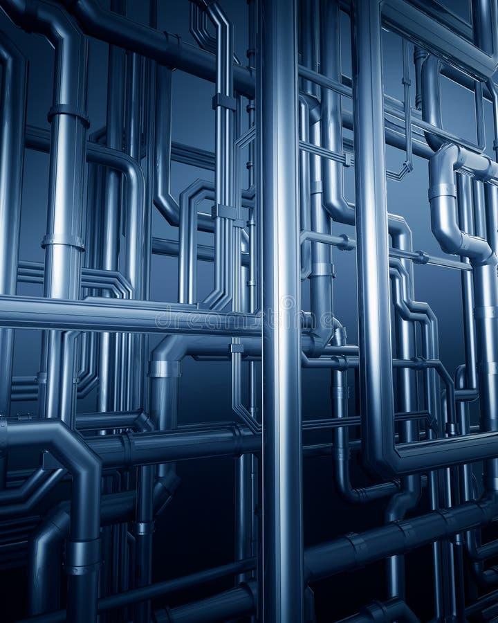 Fondo blu del tubo d'acciaio del metallo illustrazione di stock