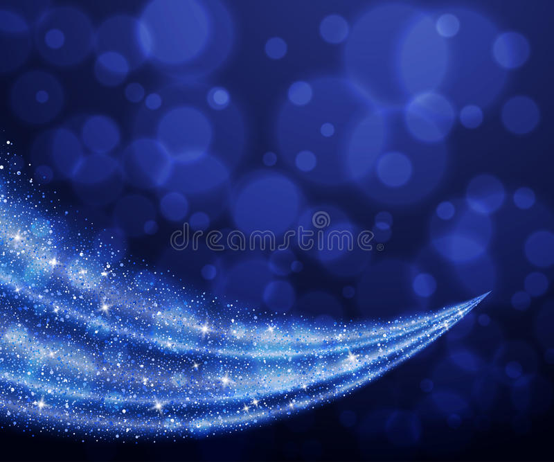 Fondo blu dell'onda della stella di scintillio della polvere di vettore astratto royalty illustrazione gratis