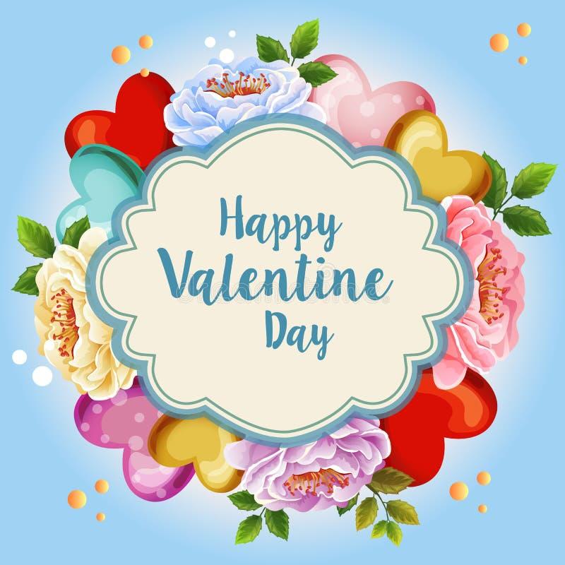 Fondo blu della bella illustrazione floreale del biglietto di S. Valentino illustrazione vettoriale