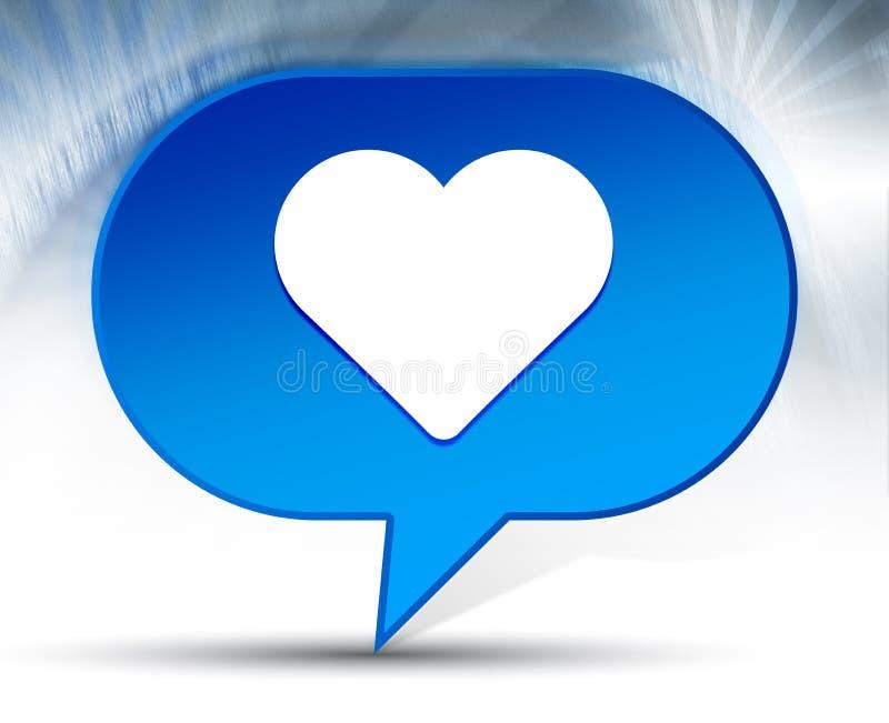 Fondo blu della bolla dell'icona del cuore illustrazione di stock