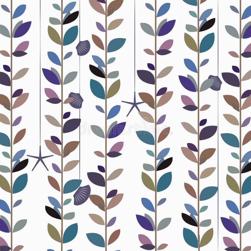 Fondo blu della vite della foglia della natura di tono royalty illustrazione gratis