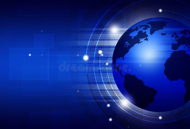 Fondo blu di affari di tecnologia globale illustrazione di stock