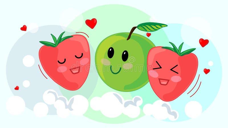 Fondo blu di estate della fragola della mela della frutta immagine stock libera da diritti