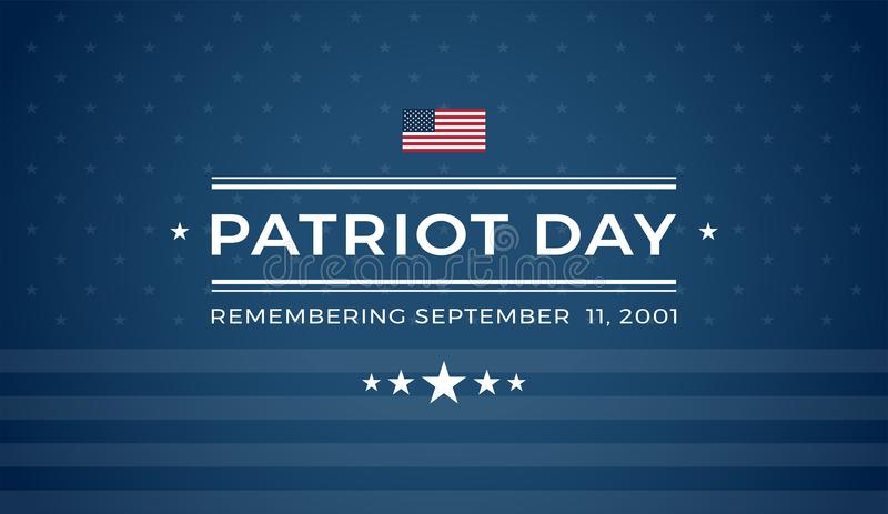 Fondo blu di giorno 9/11 del patriota che ricorda l'11 settembre 2001 - illustrazione vettoriale