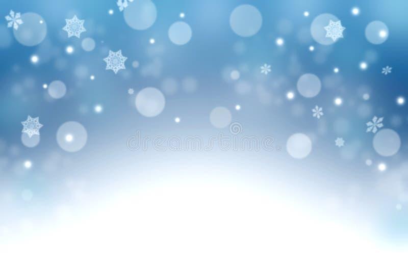 Fondo blu di inverno con i fiocchi di neve e il bokeh Natale vicino fotografia stock
